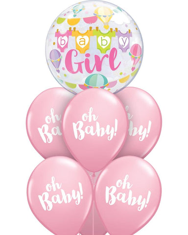 Fab Baby Girl Bubble Balloon Bouquet - PartyFeverLtd