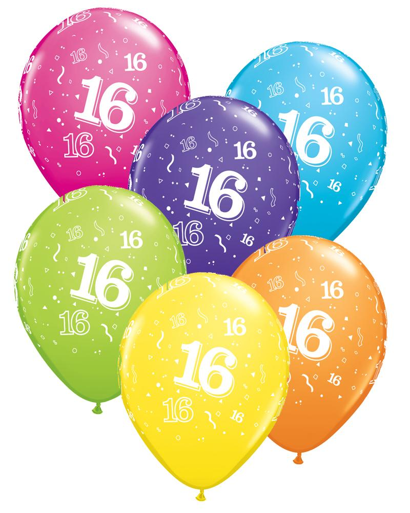 16th Birthday Balloons Pk6 - PartyFeverLtd