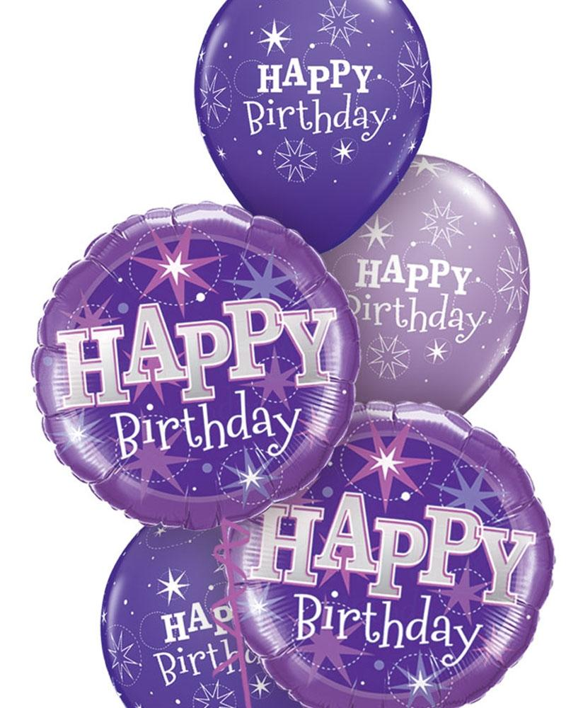 Purple Sparkle Balloon Bouquet - PartyFeverLtd