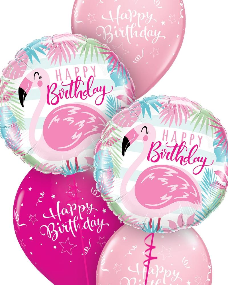 Pink Flamingo Birthday Balloon Bouquet - PartyFeverLtd
