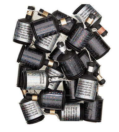 Black Glitz Party Poppers - PartyFeverLtd