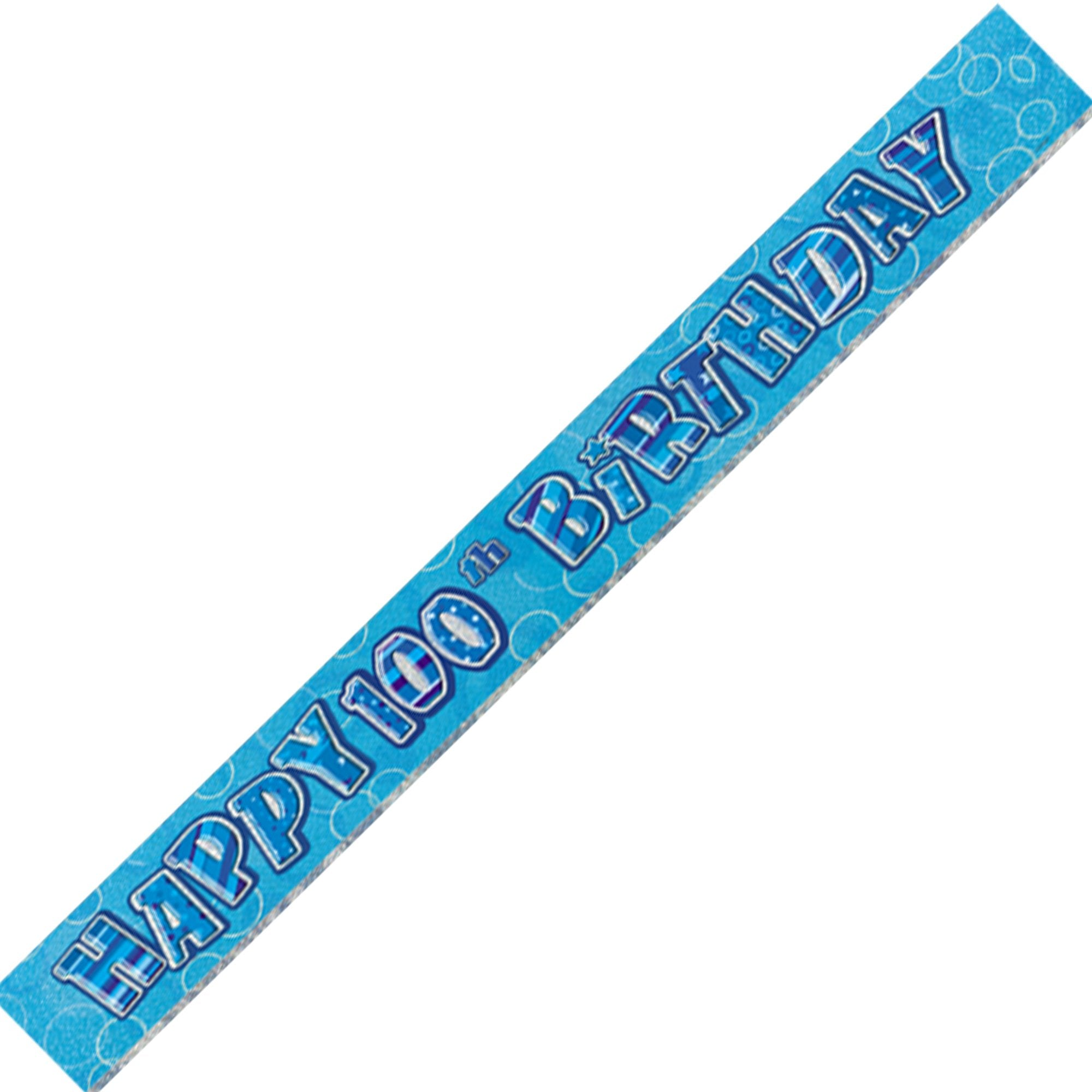 Blue 100th Birthday Banner - PartyFeverLtd
