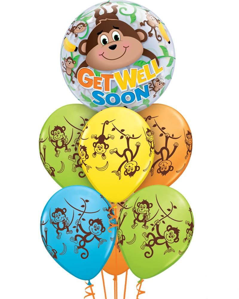 Fab Monkey Get Well Balloon Bouquet - PartyFeverLtd