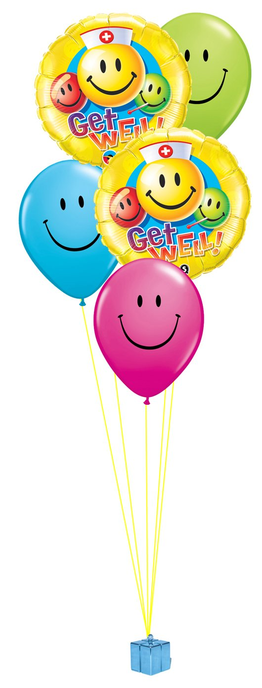 Get Well Smiles Balloon Bouquet - PartyFeverLtd