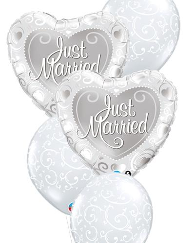 Silver Just Married Balloon Bouquet - PartyFeverLtd