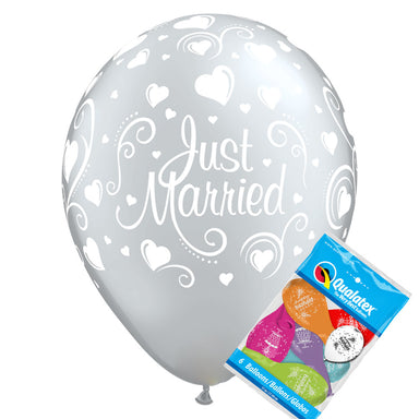 Just Married Silver Balloons pk6 - PartyFeverLtd