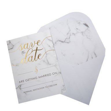 Scripted Marble Save The Date Cards - PartyFeverLtd