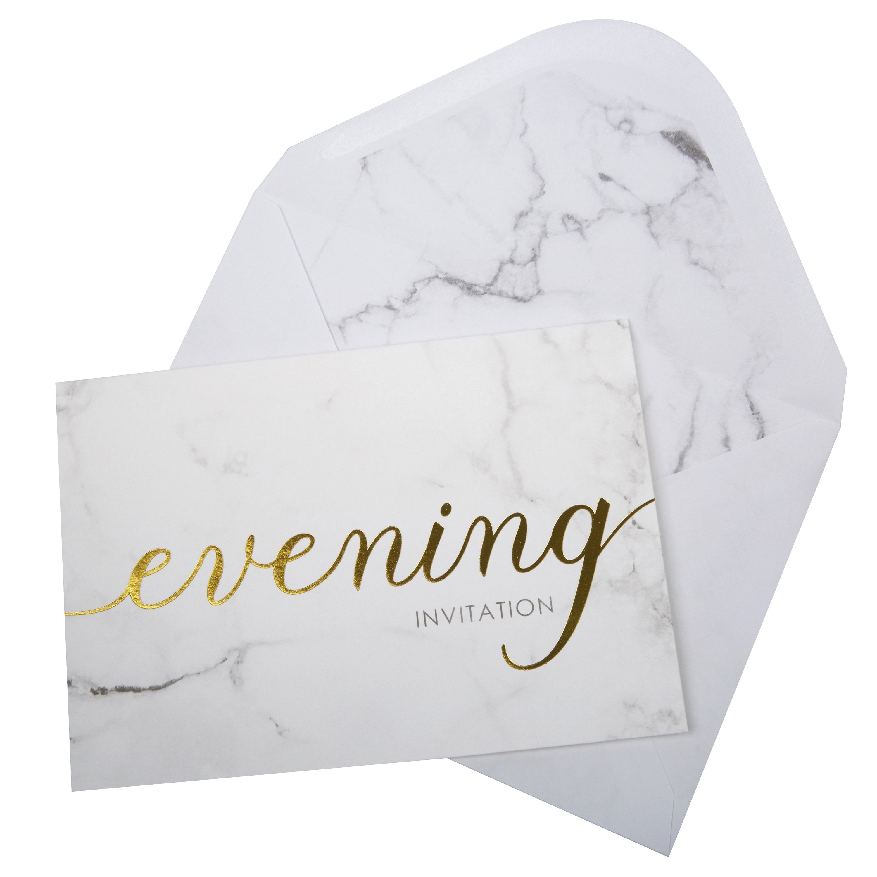 Scripted Marble Evening Invitations - PartyFeverLtd