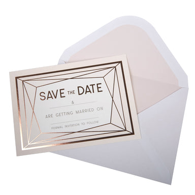 Geo Blush Save The Date Cards - PartyFeverLtd
