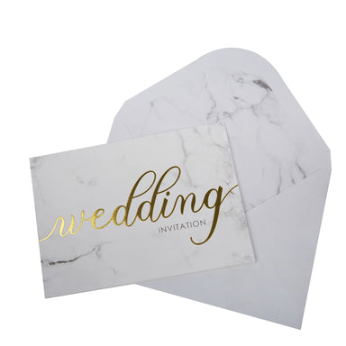 Scripted Marble Wedding Invitations - PartyFeverLtd