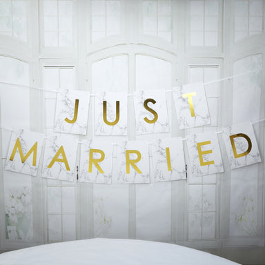 Scripted Marble Just Married Bunting - PartyFeverLtd