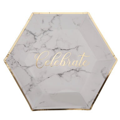 Scripted Marble Celebrate Plates - PartyFeverLtd