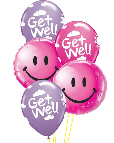 Pink Get Well Smiles Balloon Bouquet - PartyFeverLtd
