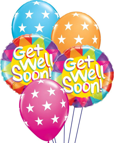 Cheery Stars Get Well Balloon Bouquet - PartyFeverLtd
