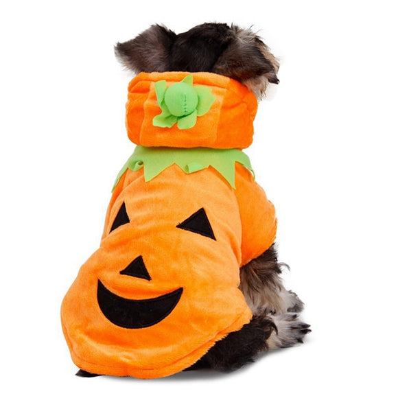 Cute Dog Halloween Hoodie Costume Demon Pumpkin Holiday Coat Clothes