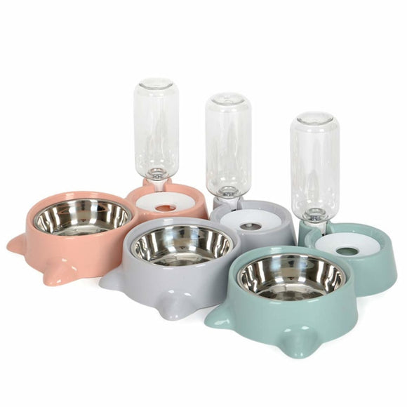 Dog Bowl Detachable Automatic Drinking Water Bottle Feeding Food Bowl Stainless for Your Pet Dogs