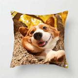 Dog Print Pillowcase Cool Charming Cushion Cover for Sofa Bed Home Decor