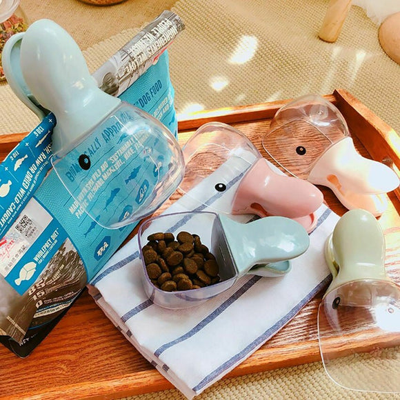 Multi-Function Food Feeding Scoop Cute Duck Mouth Spoon Sealing Bag Clip Various Colors For Your Pet Dog