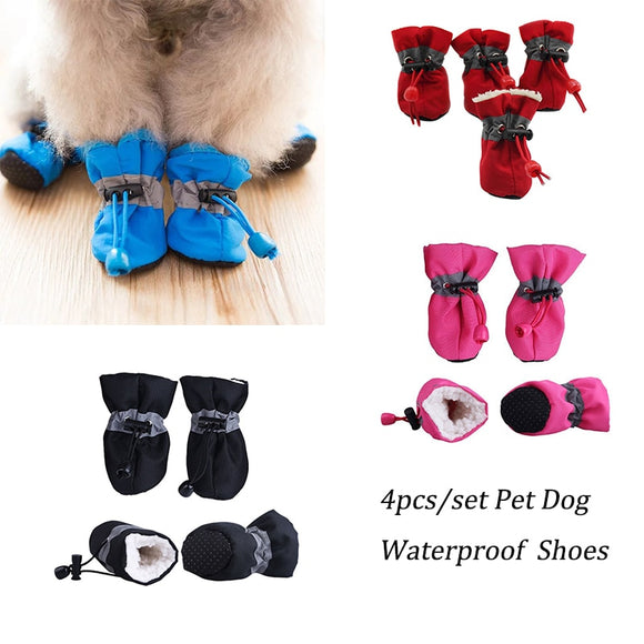 Soft Dog Shoes 4pcs Set Warm Cashmere Anti-slip Dogs Footwear Waterproof Rain Snow Socks