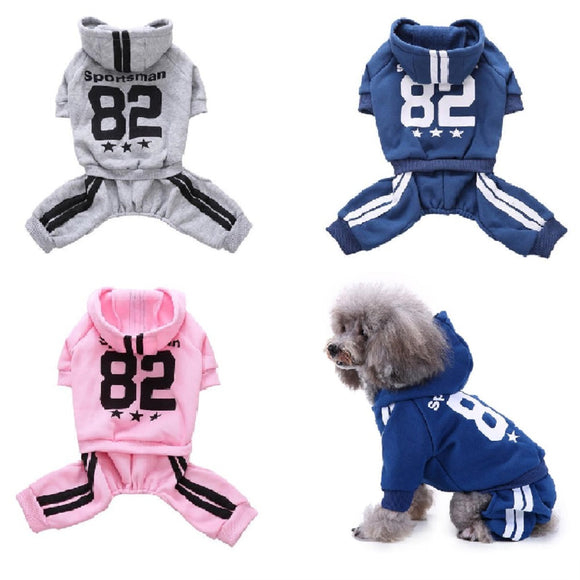 Sportsman 82 Striped Fashion Dog Tracksuit Winter Warm Cotton Jumpsuit For Your Lovely Dogs