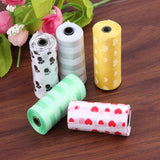 Cute Paw Printed Dog Degradable Poop Bag Waste Pick Up Clean Bag Portable Random Color 10 Rolls/150 pcs