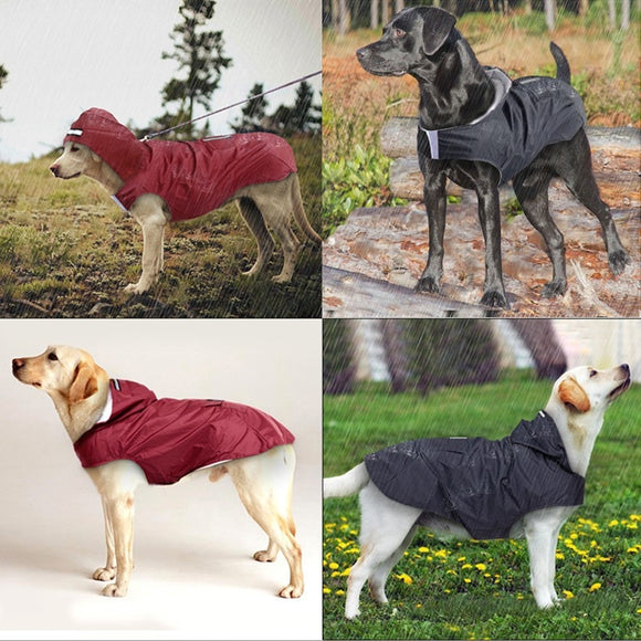 Dog Hoodies Raincoat with Reflective Stripes Outdoor Rain Jacket Various Sizes S to 5XL for Your Pet Dogs