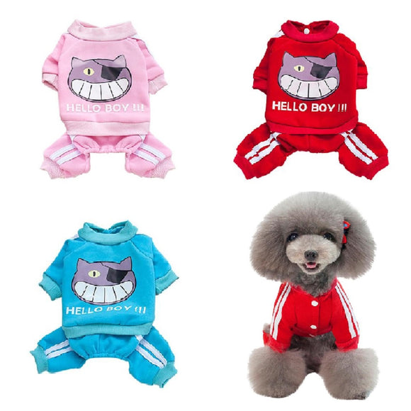 HELLO BOY Sports Fashion Dog Tracksuit Winter Warm Cotton Jumpsuit Four Legs For Your Lovely Dogs