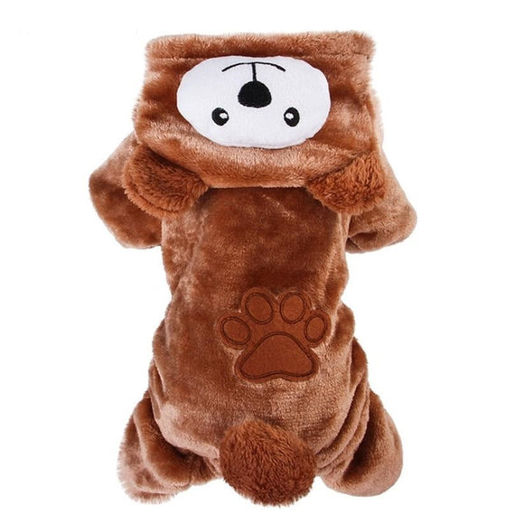 Cute Brown Bear Dog Winter Jumpsuit Soft Warm Hoodie Tracksuit Outwear for Your Lovely Dogs
