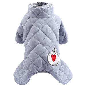 Cute Heart Bulb Dog Jumpsuit Super Warm Soft Winter Tracksuit with Stand Collar Rompers for Your Lovely Dogs
