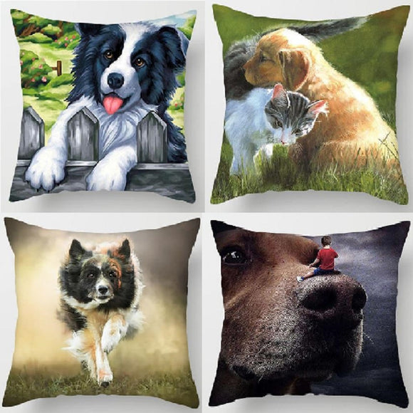 Charming Dog Print Pillowcase Cute Cushion Cover for Sofa Chair Home Decor