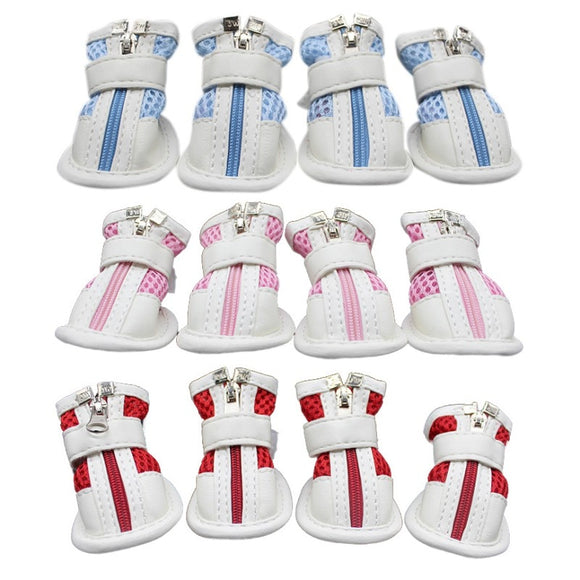 Cute Dog Anti-slip Shoes Breathable Mesh Sneakers Zipper Paw Protector 4pcs set for Your Lovely Dog