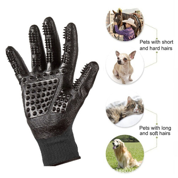Efficient Dog Grooming Glove Massage Fur Hair Remover Brush Gloves 1 Pair