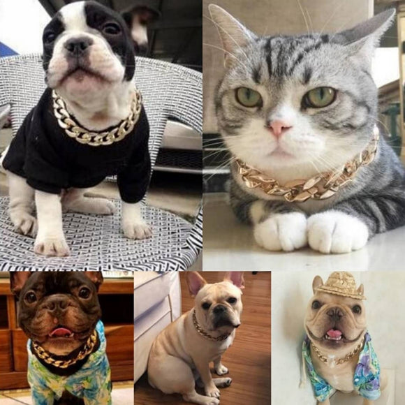 Super Fashionable Gold Chain Plated Plastic Dog Necklace Collar Hiphop Style For Your Lovely Dog