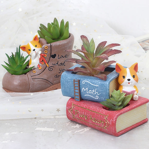 Super Elegant Resin Flowerpot Cute Corgi Dog Succulent Plants Flower Pot
