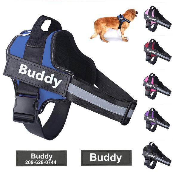 Greatly Reflective & Adjustable No Pull Personalized Dog Harness with ID Custom For Your Beloved Dog