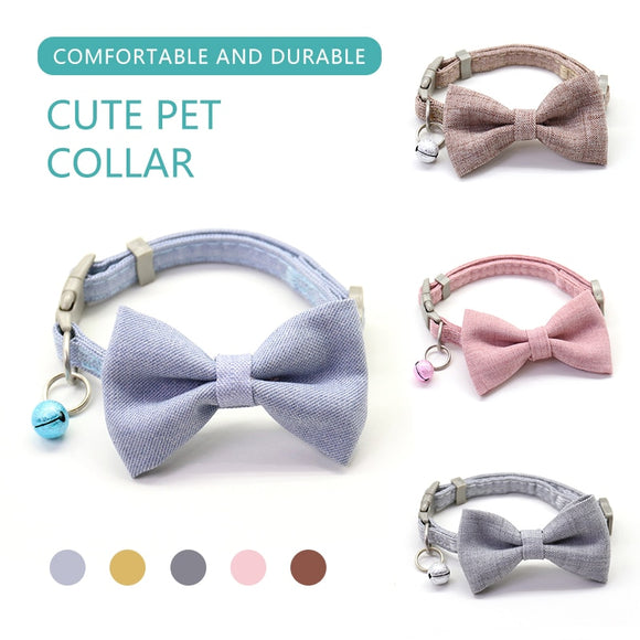 Cute Dog Collar Adjustable Bow Necktie Collar With Bells for Your Lovely Dog