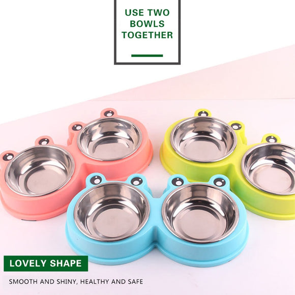 Friendly Double Dog Bowls Durable Stainless Steel Non-skid Food Water Feeder for Your Beloved Dogs