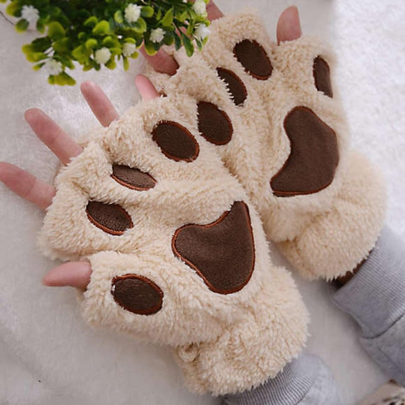 Women Gloves Winter Warm Soft Charming Paw Fur Woman Mitten Gloves