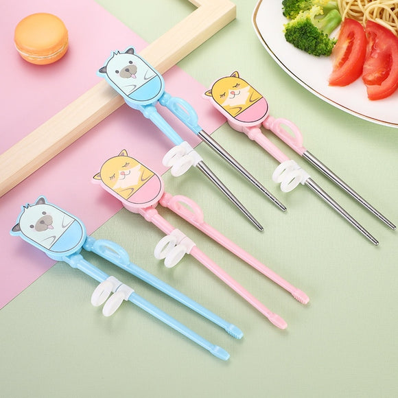 Easy-to-Use Dog Cartoon Plastic Chopsticks With Silicone Finger Ring For Toddlers Kids Adults And Beginners