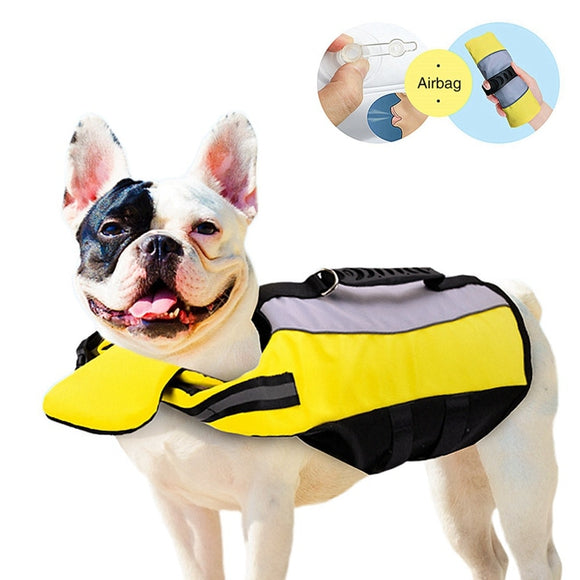Dog Life Vest Shark Swimwear Dog Swimming Suit Breathable Reflective Yellow Life Jacket
