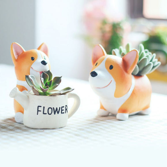 Lovely Resin Flowerpot Kawaii Corgi Garden Pots Planter Jardin Bonsai Succulent Plants Dog Flower Pot