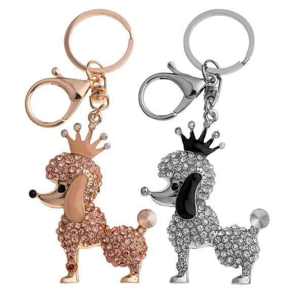 Crystal Dog Keychain Charming Blink Crown Dog Key Ring Women Bag Buckle Pendant