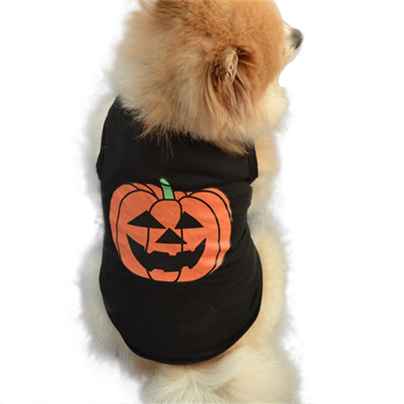 Halloween Dog T-shirt Cute Pumpkin Costume Cotton Vest Shirt Clothes