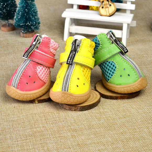 Cute Dog Shoes 4pcs Set Bright Suede Zipper Eyes Claw Non-slip Dogs Puppy Footwear
