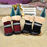Warm Dog Shoes Charming Non-slip Snow Boots 4Pcs Set Winter Footwear for your Lovely Dogs