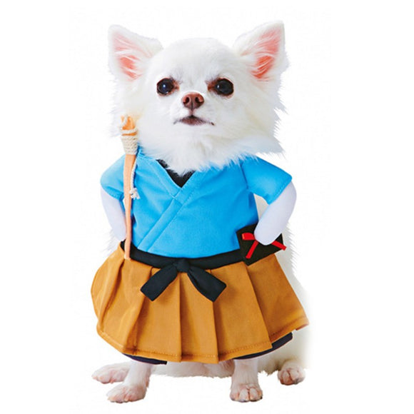 Cute Dog Halloween Costume Lovely Samurai Warrior Upright Dress Up Cosplay Puppy Clothes