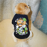 Halloween Dog Shirt Cool Pumpkin Printed Puppy T-shirt Clothes