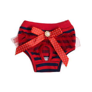 Female Dog Diaper Cute Bowknot Lace Sanitary Physiological Pants