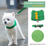 Cute Dinosaur Dog Chest Strap Leash Set Breathable Mesh Cartoon Puppy Soft Vest Harness Leads