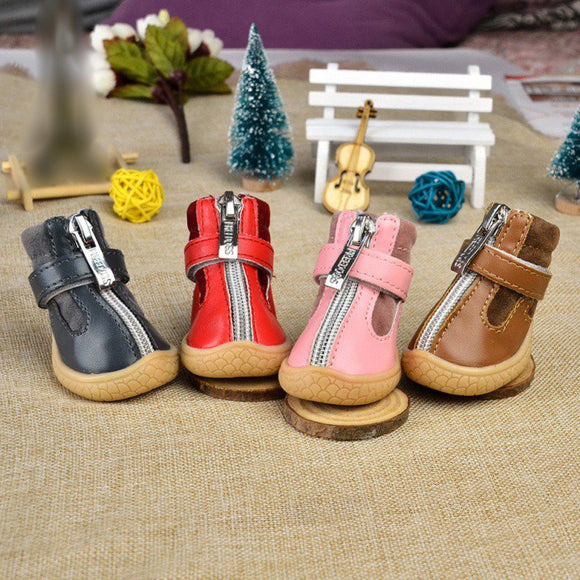 Cute Dog Shoes Zipper Style Buckskin Anti Slip Dogs Boots 4pcs Set Winter Warm Footwear